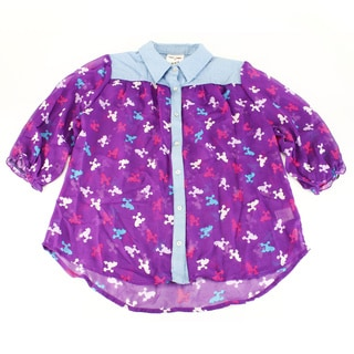 Belle Du Tour Girl's Solid Purple Polyester Top