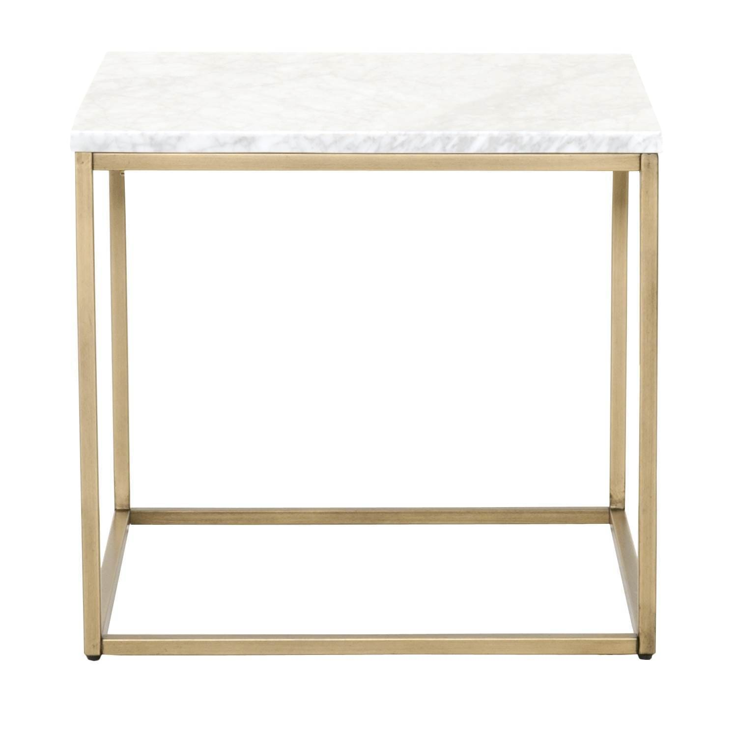 Gray Manor Autumn Marble-top End Table (Brushed Gold)