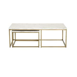 Gray Manor Autumn Goldtone and White-finished Wood and Marble Nesting Coffee Table