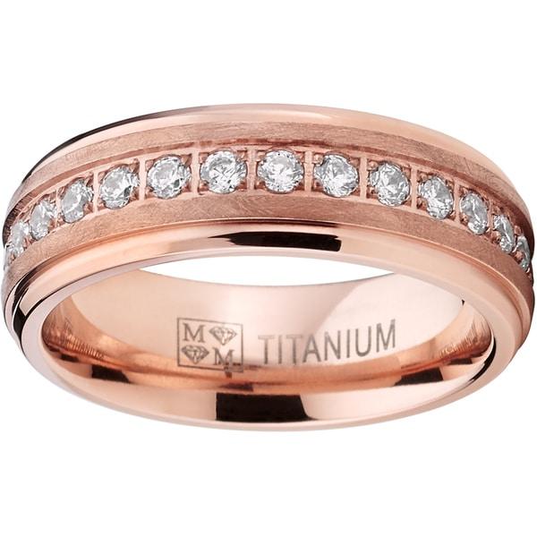 Oliveti Men's Rose Gold Titanium Prong-set Round-cut Cubic Zirconia 7-millimeter Eternity Wedding Band. Opens flyout.