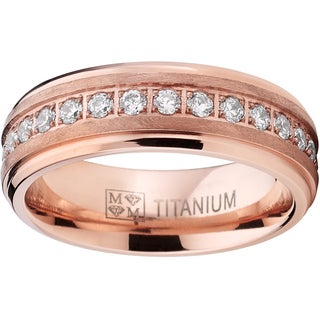 Oliveti Men's Rose Gold Titanium Prong-set Round-cut Cubic Zirconia 7-millimeter Eternity Wedding Band