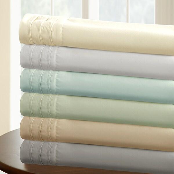 Amraupur Overseas 1000 Thread Count Cotton Rich 4-Piece Solid Sheet Set With Pintuck Hem