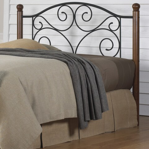 Maison Rouge Tremblay Solid Wood and Black Steel Grillwork Headboard