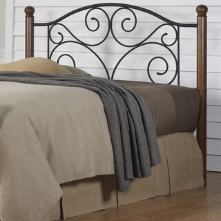 Fashion Bed Groups Doral Solid Wood and Black Steel Grillwork Headboard