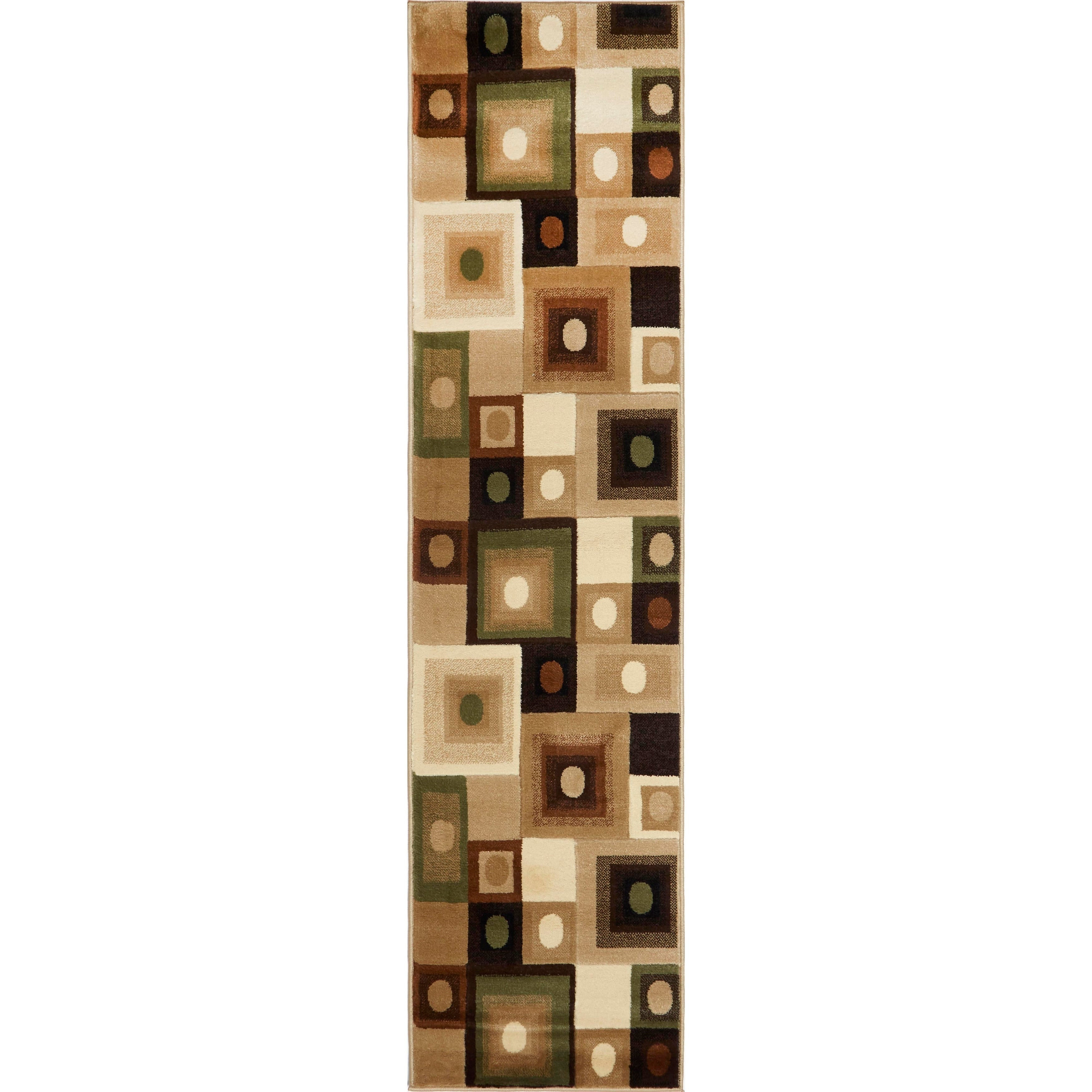 Home Dynamix Tribeca Collection Contemporary Area Rug Runner - 110 x 73 (Contemporary Brown-Green Area Rug Runner)