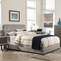 Clay Alder Home Bay Grey Faux Leather Bed with Rails