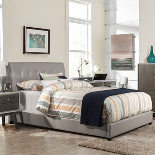 Hillsdale Furniture Lusso Grey Faux Leather Bed with Rails