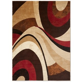 "Home Dynamix Tribeca Collection Brown/Red Polypropylene Machine-made Area Rug - 9'2"" x 12'7"""