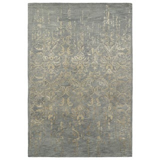 Hand-Tufted Wool & Viscose Anastasia Vanishing Pewter Green Rug (9'6 x 13')