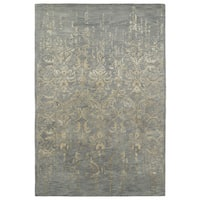 "Hand-Tufted Wool & Viscose Anastasia Vanishing Pewter Green Rug - 9'6"" x 13'"