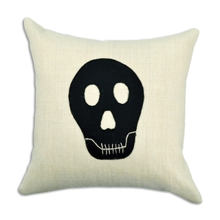 Off-white/Black Burlap 17-inch Square Skeleton Throw Pillow