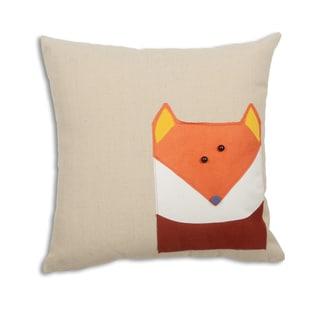 Fox on Linen Natural 17-inch x 17-inch Throw Pillow