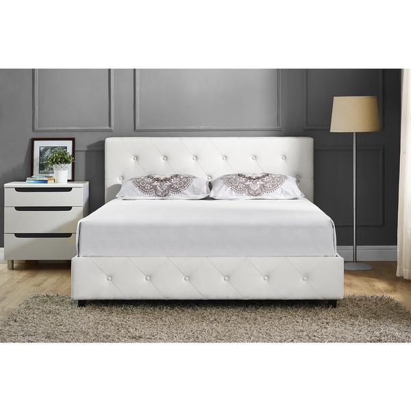 DHP Dakota White Faux Leather Upholstered Queen Bed. DHP Dakota White Faux Leather Upholstered Queen Bed   Free