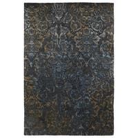 "Hand-Tufted Wool & Viscose Anastasia Charcoal Damask Rug - 9'6"" x 13'"