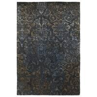 Hand-Tufted Wool & Viscose Anastasia Charcoal Damask Rug (9'6 x 13')