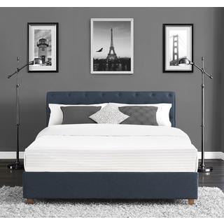 Clay Alder Home Kosciuszko Navy Linen Upholstered Queen Bed