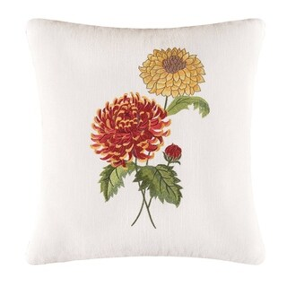 White Linen Mums 16-inch x 16-inch Embroidered Pillow