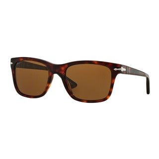 Persol Men's PO3135S 24/57 55 Havana Plastic Square Polarized Sunglasses