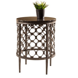 Hillsdale Furniture Brescello Brown Metal/Stone Round End Table
