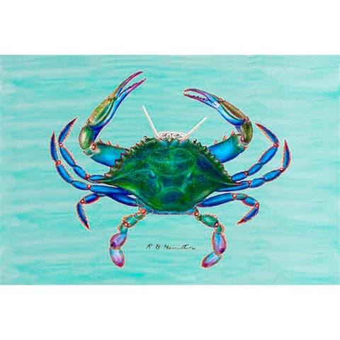 Betsy Drake Coastal Blue Crab Door Mat