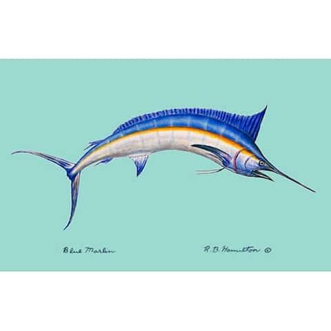Betsy Drake Coastal Multicolored Polyester Blue Marlin Door Mat
