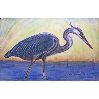 Betsy Drake Coastal Blue Heron Door Mat