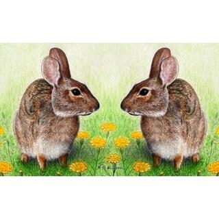 Garden Rabbits Polyester 26-inch x 18-inch Door Mat