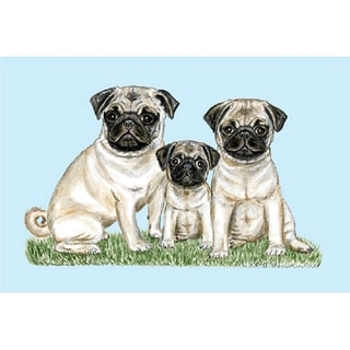 Betsy Drake Pet Pugs Door Mat