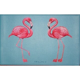 Betsy Drake Coastal Flamingo Door Mat
