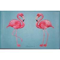 Betsy Drake Coastal Flamingo Door Mat