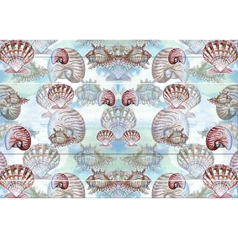 Betsy Drake Coastal Shells Multicolor Polyester Door Mat