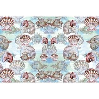 Betsy Drake Coastal Shells Multicolor Polyester Door Mat (18x26)