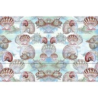 Betsy Drake Coastal Shells Multicolor Polyester Door Mat