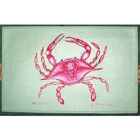 Coastal Pink Crab Polyester Door Mat