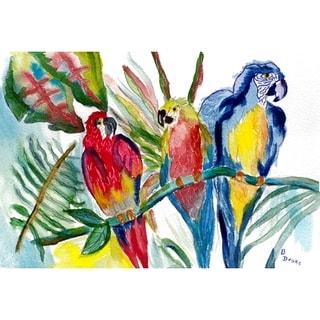 Betsy Drake Coastal Parrot Family Door Mat
