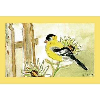 Multicolor Polyester Garden Goldfinch Door Mat