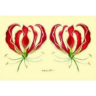 Betsy Drake Garden Red Lily Door Mat