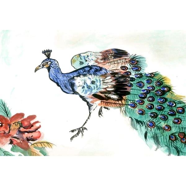 Garden Peacock Multicolored Polyester Door Mat