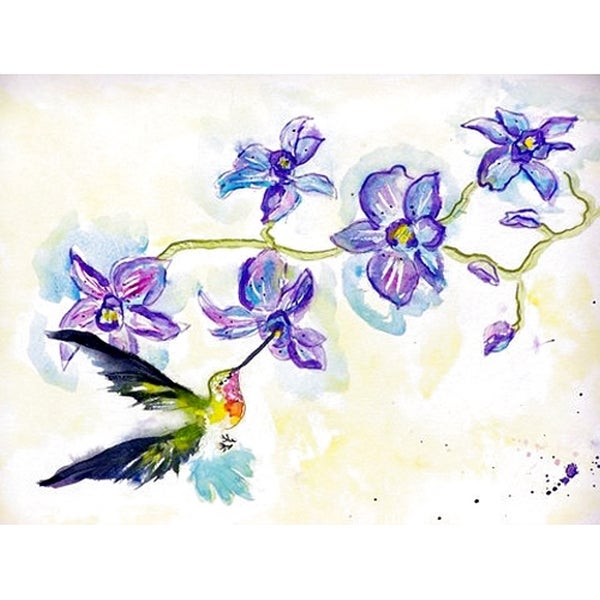 Betsy Drake Hummingbird and Clematis Multicolored Polyester 26-inch x 18-inch Door Mat