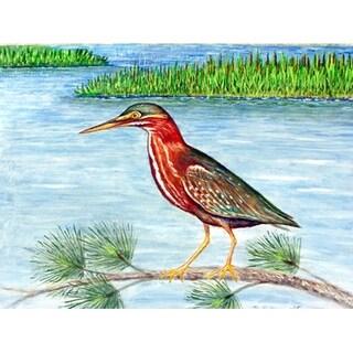 Betsy Drake Coastal Green Heron II Door Mat