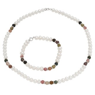 Pearlyta Children's Sterling Silver Freshwater Pearl and Colored Gemstone Jewelry Set