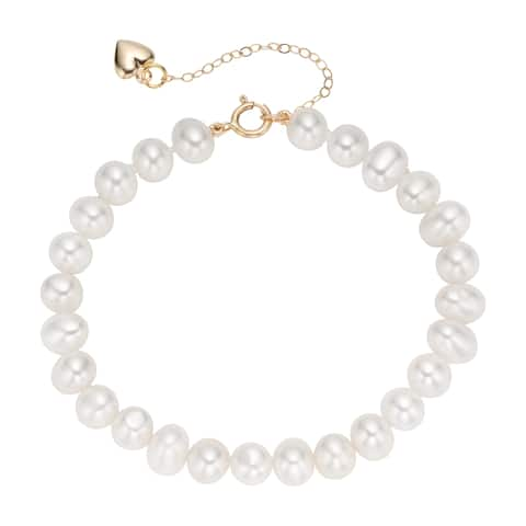 Pearlyta 14k Yellow Gold 4-5mm White Cultured Freshwater Pearl Heart Charm Bracelet for Babies - Red