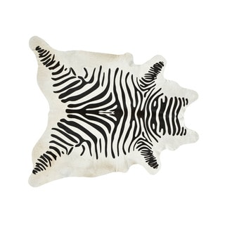 Handmade Stenciled Black and White Zebra Print Cowhide Rug (Brazil)