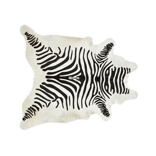 Handmade Stenciled Black and White Zebra Print Cowhide Rug (Brazil)