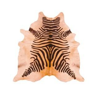 Handmade Brazilian Devore Zebra-print Rustic Brown on Beige Cow Hide Rug (6' x 6'5)
