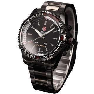 Shark Sport Watch Mens Black Stainless Steel Band Watch with LED Time Display SH001