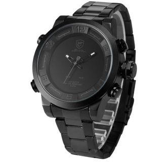 Shark Sport Watch Mens Black/ Grey Stainless Steel Band Analog LED Display Quartz Watch SH364