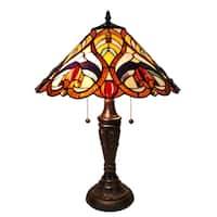 Amora Lighting AM233TL16 Multi-color Art Glass Victorian Tiffany Style Table Lamp