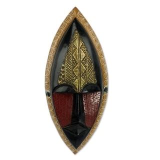 Handmade A Peace Blessing Wood Mask (Ghana) - Yellow