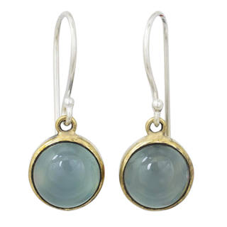 Handcrafted Sterling Silver 'Early Sun' Chalcedony Earrings (Thailand)